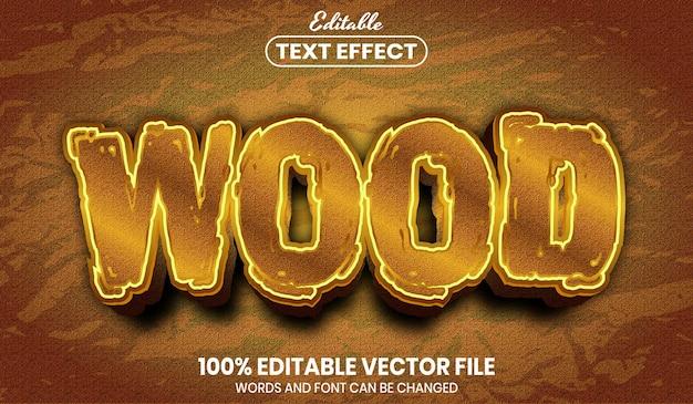 Texto de madeira, efeito de texto editável de estilo de fonte