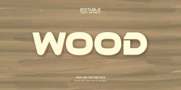 Texto de madeira, efeito de texto editável no estilo desenho animado