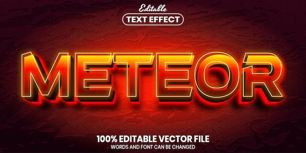 Texto de meteoro, efeito de texto editável de estilo de fonte