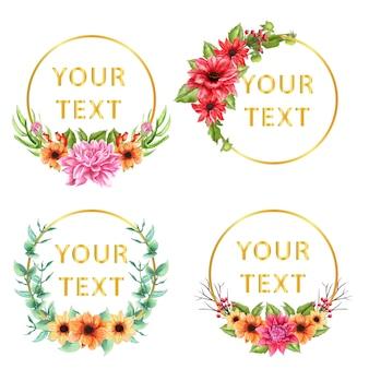 Texto de modelo com coroa de flores da dália floral. fundo
