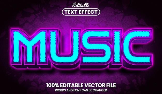 Texto de música, efeito de texto editável de estilo de fonte
