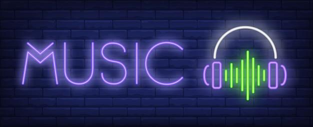 Texto de música neon com fones de ouvido e onda sonora
