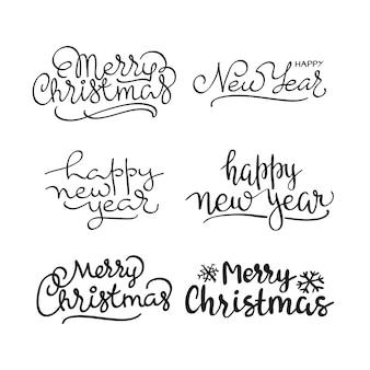 Texto de natal feliz conjunto de design de letras caligráficas