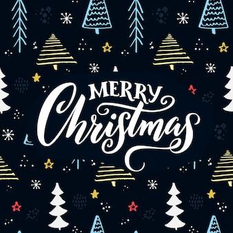 Texto de natal feliz disponível padrão de árvore de natal desenhada. fundo azul com legenda em branco.
