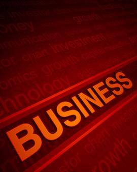 Texto de negócios 3d em perspectiva com palavras e luz