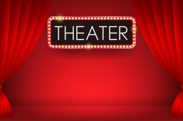 Texto de néon brilhante de teatro em um outdoor de bulbo elétrico com pano de fundo de cortina vermelha. ilustração.