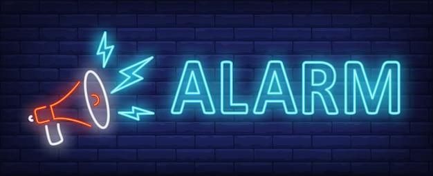 Texto de neon de alarme com alto-falante