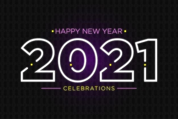 Texto de néon de celebração de feliz ano novo