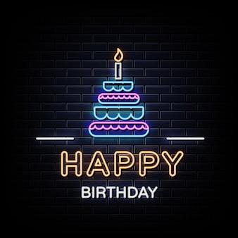 Texto de néon de feliz aniversário. sinal de néon feliz aniversário