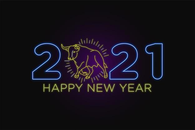 Texto de néon de feliz ano novo com personagem de natal