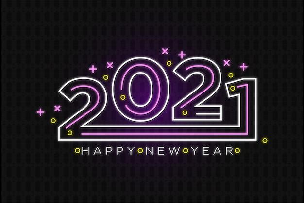Texto de néon de feliz ano novo em estilo retro
