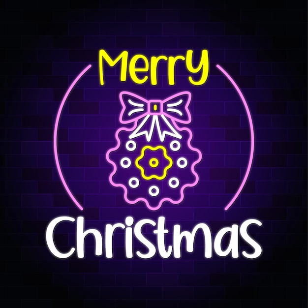 Texto de néon de feliz natal com gravata borboleta e flor de natal - banner de sinal de néon e fundo premium