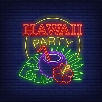 Texto de néon de festa do havaí com coquetel de coco e plantas tropicais