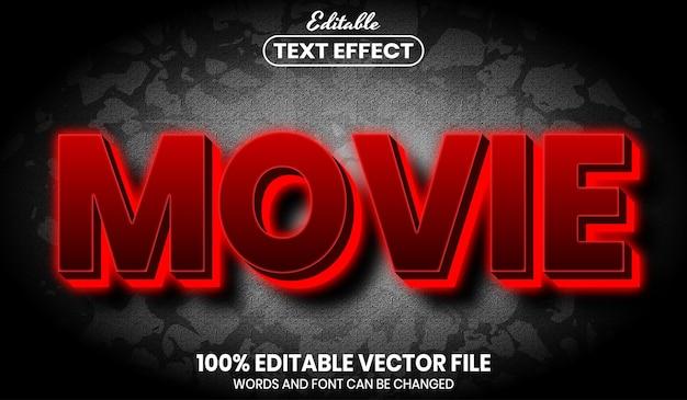 Texto de neon de filme, efeito de texto editável de estilo de fonte