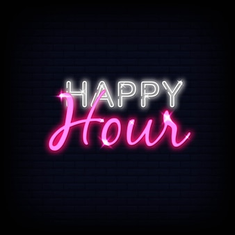 Texto de néon de happy hour