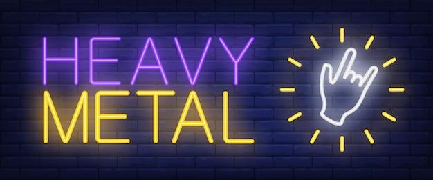 Texto de neon de heavy metal com gesto com a mão