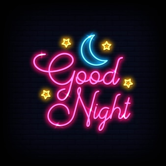 Texto de néon de luz boa noite moderna. banner de luz do cartaz.