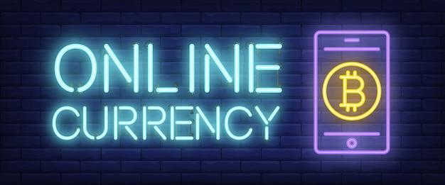 Texto de néon de moeda on-line com sinal de bitcoin no smartphone