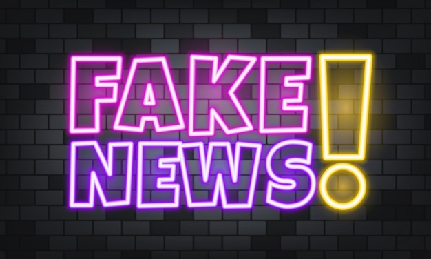 Texto de néon de notícias falsas no fundo de pedra. notícias falsas. para negócios, marketing e publicidade. vetor em fundo isolado. eps 10.