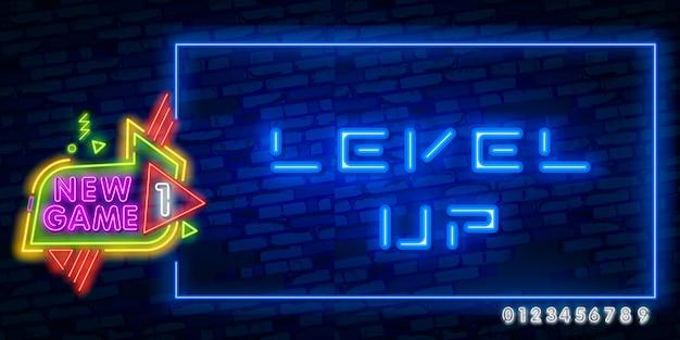 Texto de néon de subir de nível