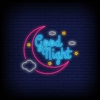 Texto de néon luz moderna boa noite.