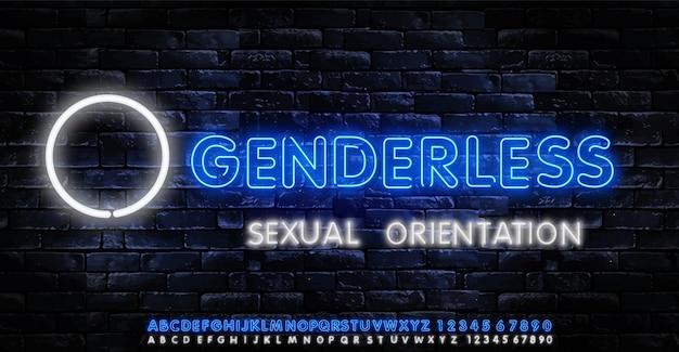 Texto de néon sem gênero. orientação sexual conceito coleção luz sinais.