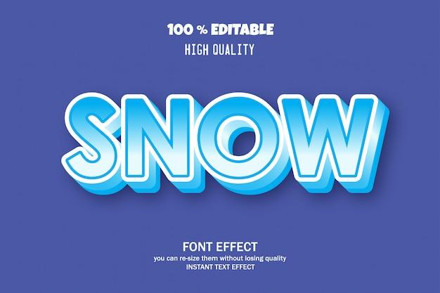 Texto de neve, efeito de fonte editável
