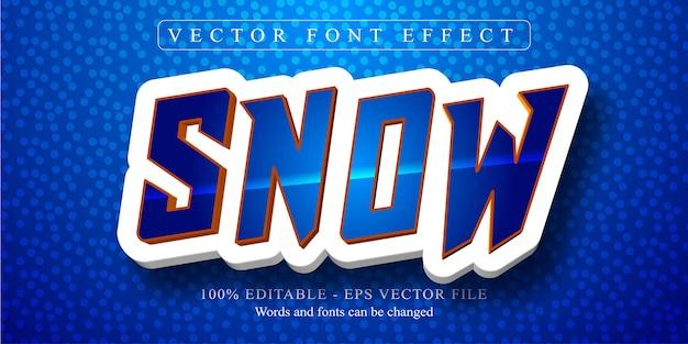 Texto de neve, efeito de texto editável no estilo desenho animado