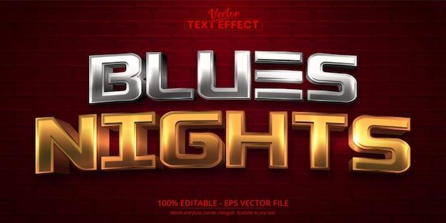 Texto de noites azuis, efeito de texto editável no estilo ouro brilhante e prata