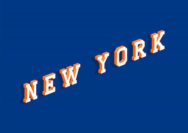 Texto de nova york com efeito isométrico 3d