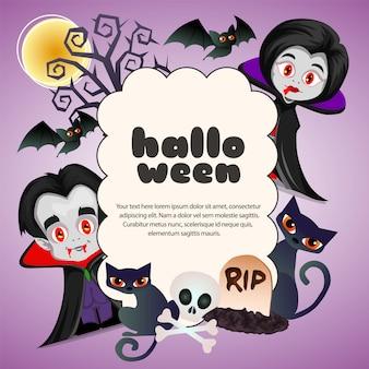 Texto de nuvem feliz dia das bruxas com casal de drácula