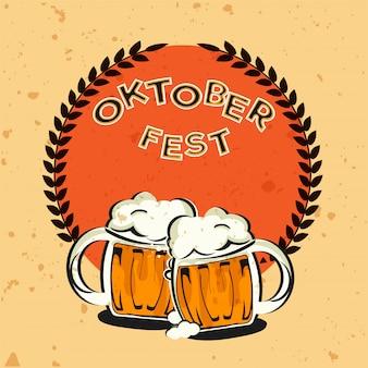Texto de oktoberfest estilo vintage com duas canecas de cerveja