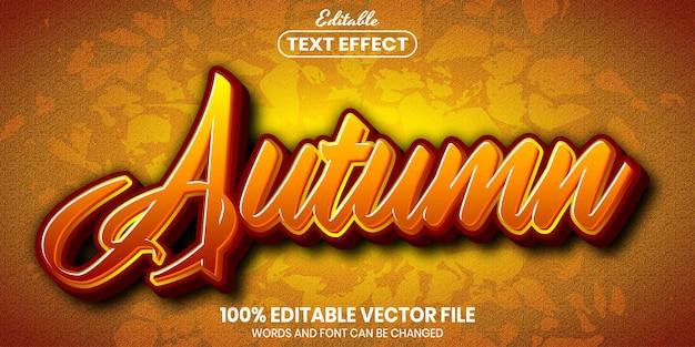 Texto de outono, efeito de texto editável de estilo de fonte