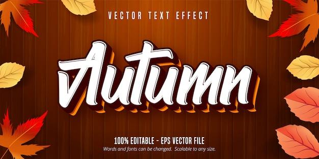 Texto de outono, efeito de texto editável de estilo outono em fundo de madeira