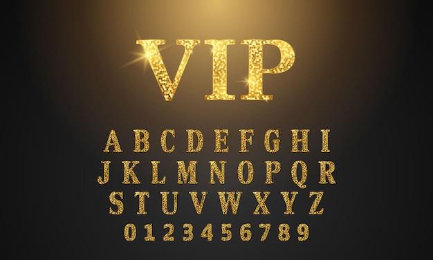 Texto de padrão de fonte dourada vip