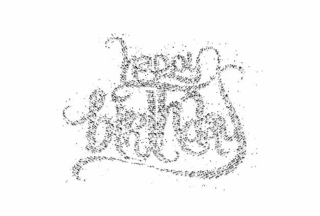 Texto de partícula de feliz aniversário feito de elemento de design de vetor de caligrafia.