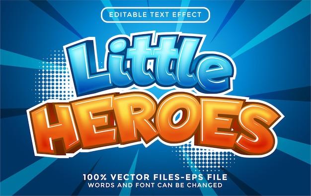 Texto de pequenos heróis. texto editável com efeito de desenho animado em vetores premium