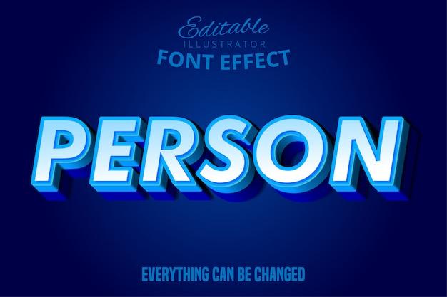 Texto de pessoa, efeito de fonte editável azul 3d