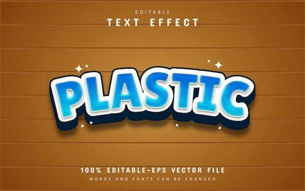 Texto de plástico, efeito de texto estilo desenho animado azul