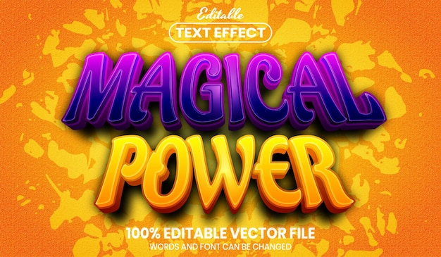 Texto de poder mágico, efeito de texto editável de estilo de fonte