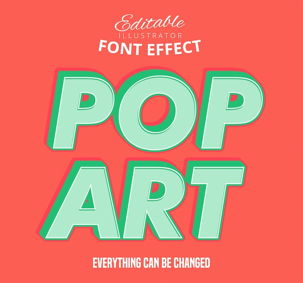 Texto de pop art, estilo de texto editável