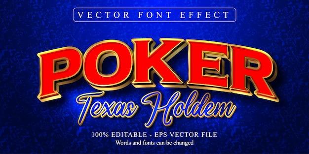 Texto de pôquer texas hold'em, efeito de texto editável estilo dourado