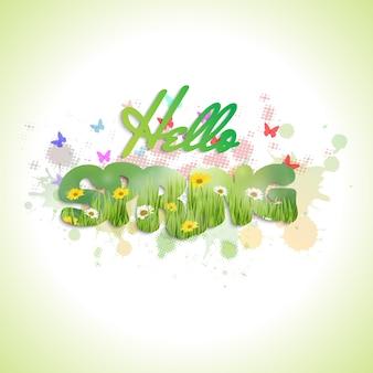 Texto de primavera com flores e borboletas
