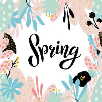 Texto de primavera esboçado à mão como logotipo, crachá e ícone. cartão postal, cartão, convite, panfleto, modelo de banner. primavera tipografia de letras emoldurada com folhas pastel abstratas e galhos, flores. boas festas
