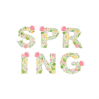 Texto de primavera. folhas e flores letras para cartão