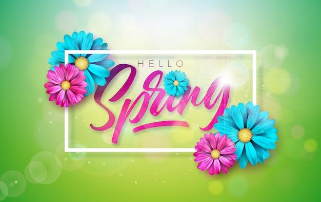 Texto de primavera. modelo de design floral com letra de tipografia