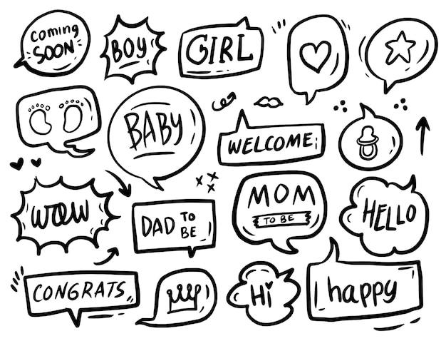 Texto de propriedade da cabine fotográfica do chá de bebê e desenho de coleção de bolha de discurso