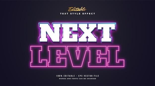 Texto de próximo nível com efeito de néon brilhante colorido em estilo retro e futurista