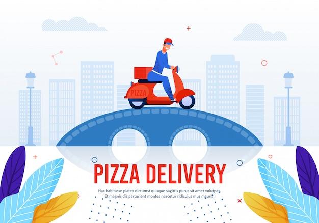 Texto de publicidade do serviço de entrega de pizzas