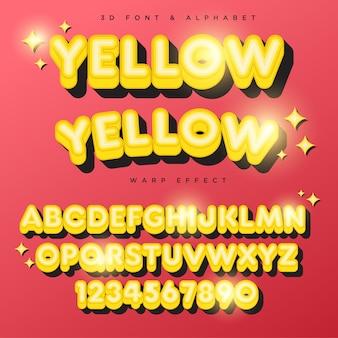 Texto de rotulação 3d estilizado amarelo